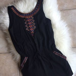 Black Romper with Stitching Detail
